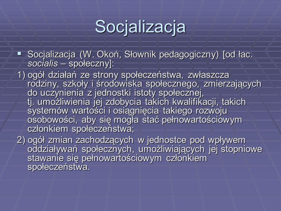 SocjalizacjaSocjalizacja (W. Okoń, Słownik pedagogiczny) [od łac. socialis – społeczny]: